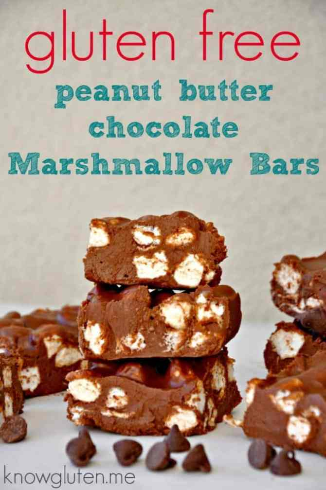 Gluten Free No Bake Peanut Butter Chocolate Marshmallow Bars from knowgluten.me