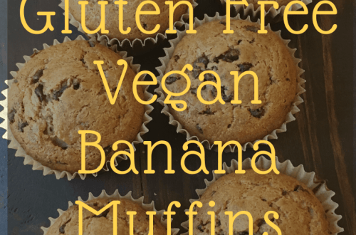 a picture of gluten free, vegan, banana muffins