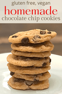 gluten free, vegan homemade chocolate chip cookies from knowgluten.me closeup of stacked cookies