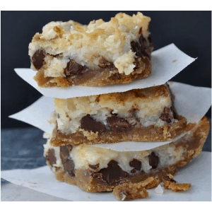 hello dolly bars stacked up on parchment paper