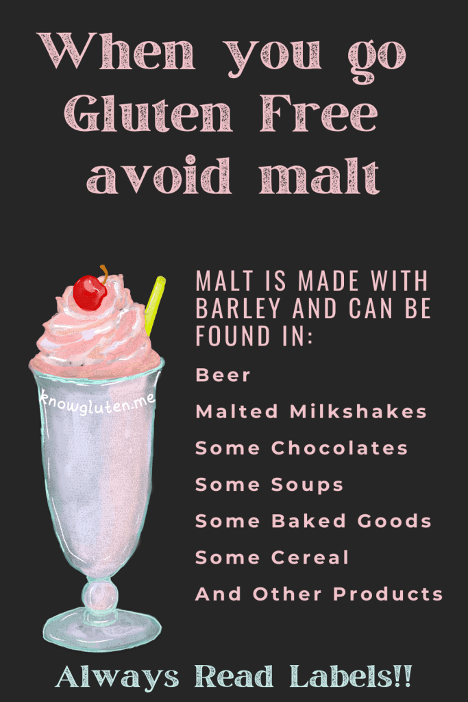 a chalkboard with a drawing of a milkshake and the names of some products containing malt.