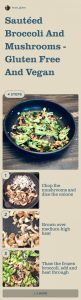 pinterest pin of steps for sauteed broccoli and mushrooms
