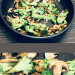 Split screen of broccoli and mushrooms in a frying pan and a closeup shot of broccoli and mushrooms.