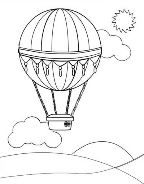 ภาพระบายสี ลูกโป่ง + บอลลูน : Balloon Coloring Page