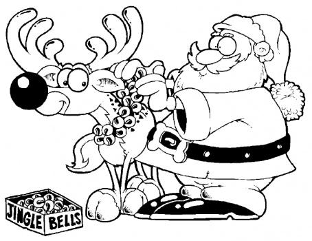 ภาพระบายสี : กวางเรนเดียร์ [Reindeer Coloring Pages