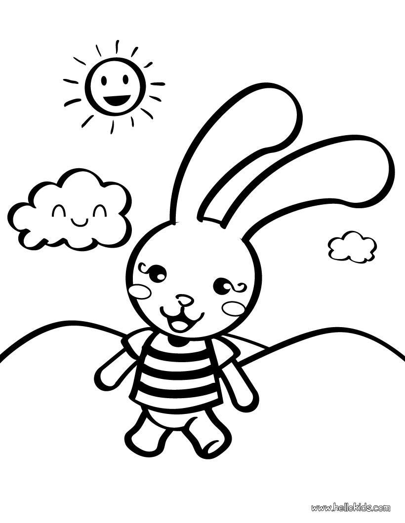 ภาพระบายสี : กระต่าย [Rabbit Coloring Page]