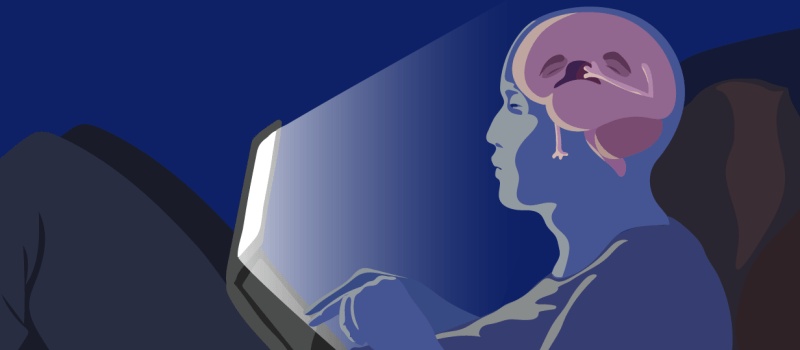 Feature image of person in the dark looking at a bright laptop screen, with their brain visible through their head yawning. Illustrated by Michal Roessler.