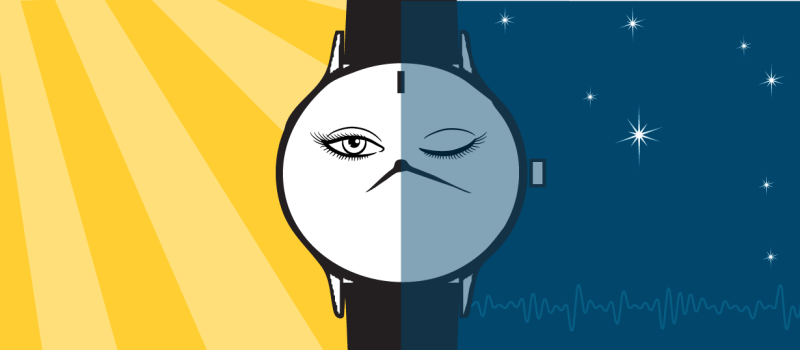 Image split in half with two backgrounds, day and night, with a Fitbit watch in the center. A face on the watch is half awake on the day side of the image and asleep on the night side. Illustrated by McCall Sarrett.