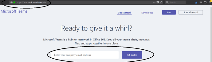 Figure 2 - Microsoft Teams URL