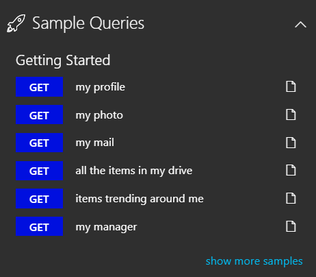 fig 2 Graph Explorer sample queries
