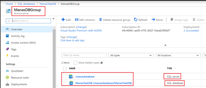 Azure SQL Server and Database Under Resource Group