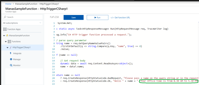 Azure – Function HttpTriggerCSharpGetscreated