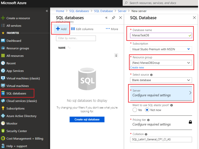 Azure – Create Azure SQL Database