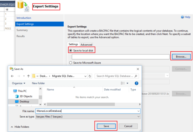 Azure -  Export Local Database -2