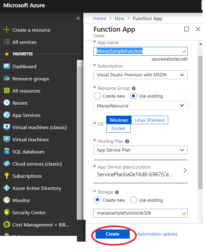 Azure – Fill all required data to create a new function.