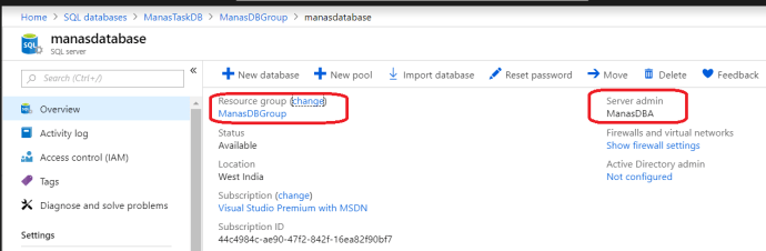 Azure - Get Azure SQL Database Serve admin Name