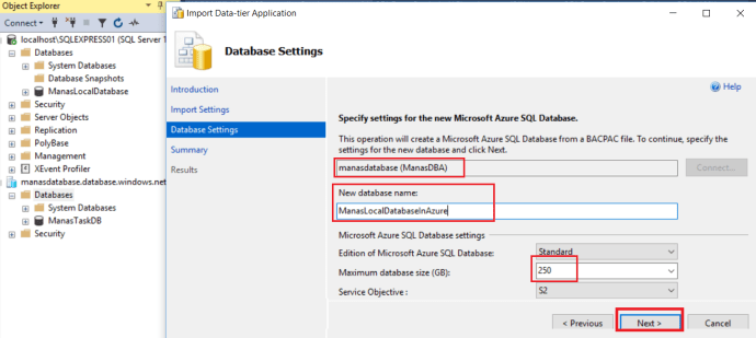 Azure -Import Local Database To Azure_3