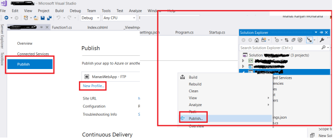 Publish the web application into Azure