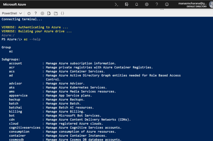 List of Azure Commands
