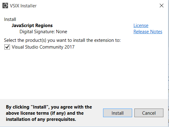Figure 3_ Visual Studio Marketplace - Installing JavaScript Regions