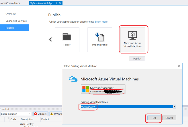PublishingOn MS Azure VM