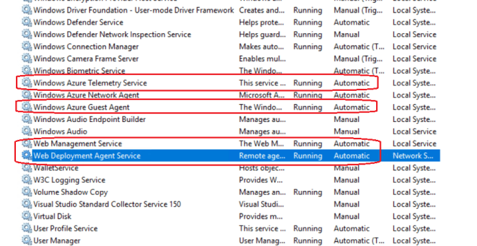 All Required Services on VM