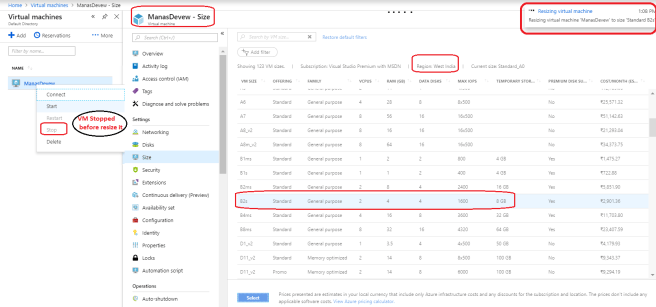 Size, Public Port an other details of Existing VM
