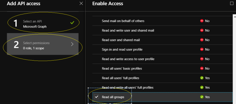 """Office 365 - Microsoft Graph – Select an API - """"Microsoft Graph"""" to give permission for reading all groups"""
