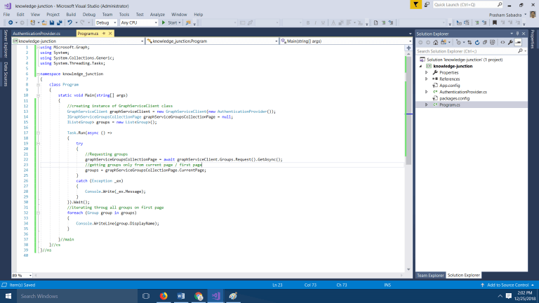Office 365 - Microsoft Graph - CodeBase to fetch all Office 365 groups using CSOM
