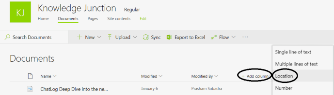 """Office 365 - SharePoint Online - Adding new column of """"Location"""" type to document library"""