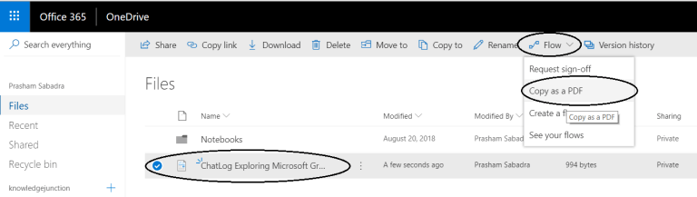 "Office 365 - OneDrive for Business - Running flow ""Copy as a PDF"""