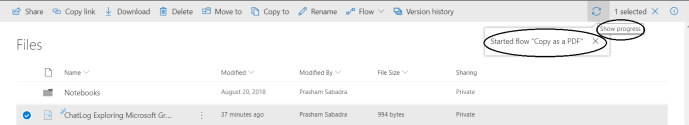 """Office 365 - OneDrive for Business - running flow for """"Copy as a PDF"""""""
