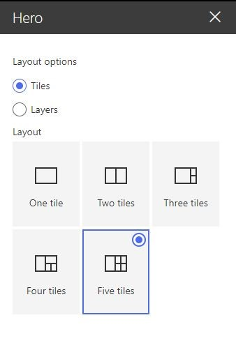 Figure 10 - Office 365 - SharePoint Online – Hero WP – Layout options - Tiles
