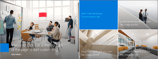 Figure 3- Office 365 - SharePoint Online - Hero WP from Topic site design – Tiled layout