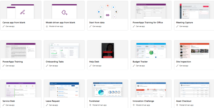 Microsoft 365 : PowerApps : OOB templates available to create apps