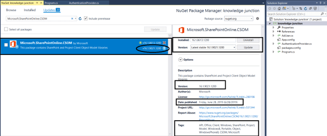 Office 365 – SharePoint Online / Project Online : Latest CSOM details in NuGet