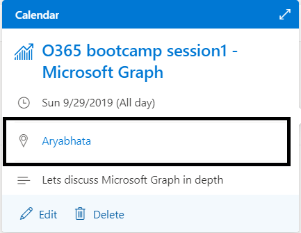 "M365 - Microsoft Graph - Event created in Outlook calendar with room name  ""Aryabhata"""