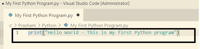 Python - First python program in Visual Studio Code using print()
