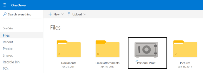 "M365 - OneDrive - My Personal OneDrive showing ""Personal Vault"" icon / folder"
