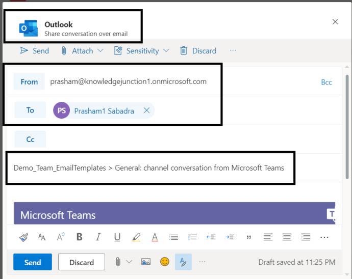M365 - Teams-Outlook integration >> Sharing / Emailing Team conversation to other users >> Outlook dialog