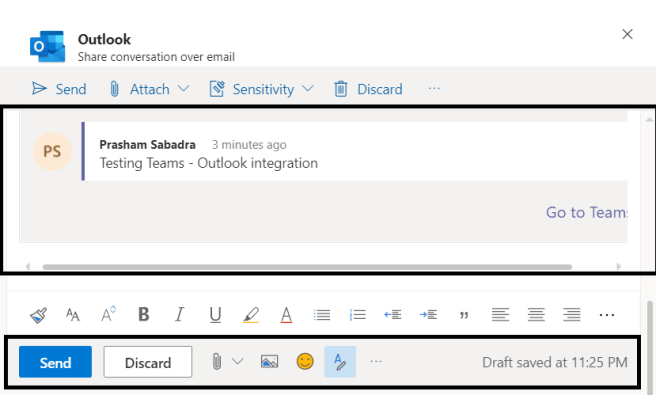 M365 - Teams-Outlook integration >> Sharing / Emailing Team conversation to other users >> Outlook dialog >> Conversation as outlook message