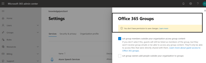 "M365 - SharePoint Online - M365 Admin Centers >> User having ""Global reader"" role getting error message while updating setting"