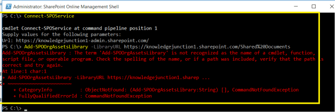 M365 - SharePoint Online - Error- The term '' is not recognized as name of a cmdlet, function, script file or operable program