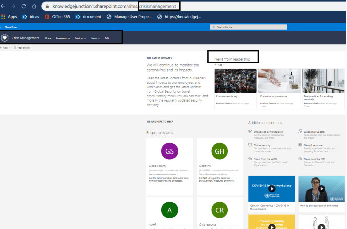 """M365 - SharePoint Look Book - """"Crisis Management Site"""" - Home Page"""