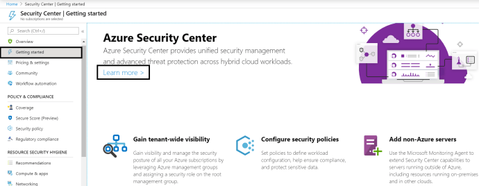 Azure - Security Center - Getting started