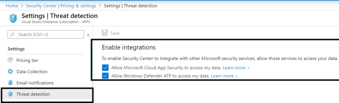 Azure - Security Center - Settings >> Threat Detection