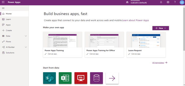 Power Platform – Power Apps - Home page