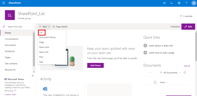 Power Platform - SharePoint -  Select List Page