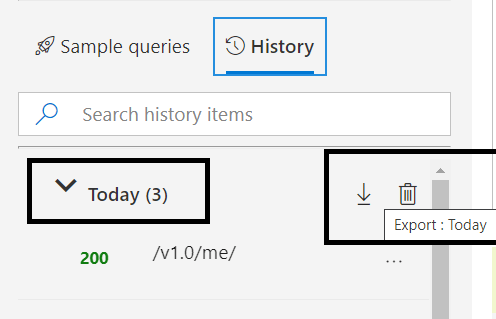 Microsoft Graph - New Features - History Tab updates - Export and Delete option for the history groups
