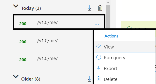 Microsoft Graph - New Features - History Tab updates - Actions for query : View, Run query, Export and Delete
